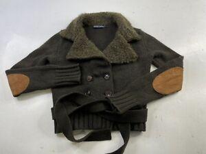 Ralph Lauren Women's Wool Cashmere Leather Alpaca Knit Cardigan Sweater Belted