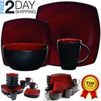 Dinnerware Set Square Dinner Plates Mugs Dishes Bowls For Home Kitchen 16 Pieces