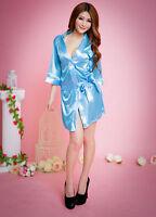 Women's Plain Silk Satin Robes Bridal Wedding Bridesmaid Bride Gown Kimono Robe#