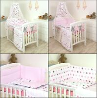 PINK-GREY STARS BABY BEDDING SET COT or COT BED  3,4,5,7,8,9 PC+ MORE DESIGNS