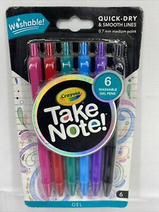 Crayola Take Note Washable Gel Pens 6 Pens Quick Dry 0.7mm Medium Point