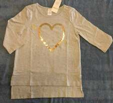New/NWT Gymboree Girls Gold Sequin Heart Long Sleeve Tee, Size Medium (7-8)