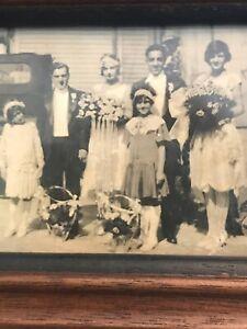 Vintage Framed Photo Family Well Dressed Old Car