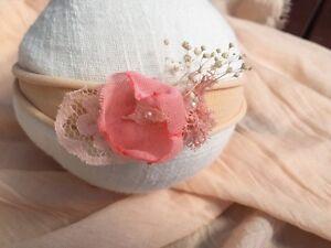NEW Newborn Baby Girl Organic Pink Flower Fascinator Headband  Photo Prop Kiddy