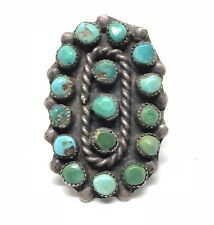 ZUNI Sterling Silver Turquoise SNAKE EYE Old Pawn Green Native American Ring 7.5