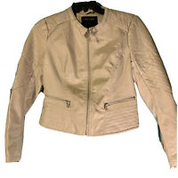 Women THERAPY Bomber Jacket Size 16 Ivory leather look