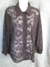 Expose Size Medium Sheer Black Overblouse Burnout Hearts & Swirls Romantic