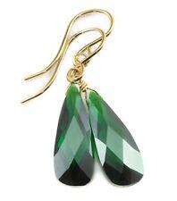 14k Gold Cubic Zirconia Earrings Sim Emerald Green CZ Drops Sterling Dangle Drop