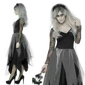 Halloween Zombie Corpse Bride Costume Ghost Widow Graveyard Fancy Dress Ladies