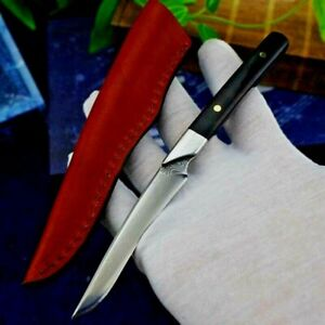 Drop Point Knife Fixed Blade Hunting Tactical Combat Damascus Steel Wood Handle