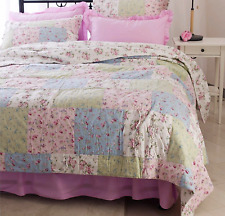 NEW Simply Shabby Chic DITSY PATCHWORK Ruffled Twin Quilt ~French Cottage~