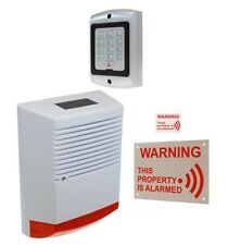 Large Solar Powered Dummy Alarm Siren, 2 x Alarm Signs & Dummy Keypad