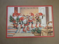 Scandinavian Swedish Christmas Poster Print Tomte Gnome Tree J Bergerlind BO536