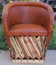Mexican Equipale Cushioned Leather Chair - Brick Color 002B