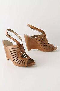 Anthropologie Wedge Sandals Raise The Bars Slingbacks Open Toe Leather, 9 & 9.5