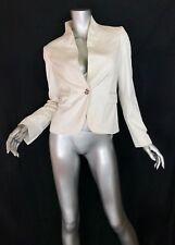 Burberry white jacket blazer slim fit Sz4 silver detail lined single button
