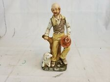 Flambro Porcelain Figurine Old Man Sitting On Stump With Sheep Pt2