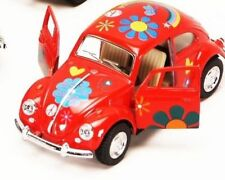 "New 5"" Kinsmart 1967 Volkswagen Beetle w/ Flowers Decals Diecast Model 1:32 Red"