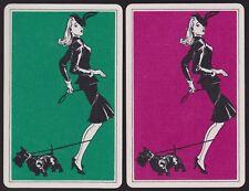 2 Single VINTAGE Swap/Playing Cards CHIC LADY BLACK SCOTTIE DOG LEASH TANGLE