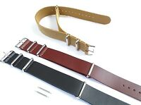 Leather One Piece Watch Strap Band Mens Military Army Divers MOD Spring 18-24mm