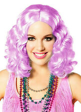 Party Pastel Purple Lilac Short and Curly Flapper Adult Costume Wig