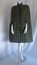 VINTAGE 1970'S BLACK AND WHITE WELSH WOOL TAPESTRY CLOAK CAPE COAT SIZE S