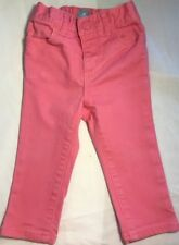 Baby Gap Baby Girl's 12-18M Pink Jeans Elastic Waist Snap Front Closure EUC