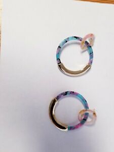 BAUBLEBAR Gold-Tone DANIYA Pink & Turquoise Marbled Acrylic Double HOOP EARRINGS