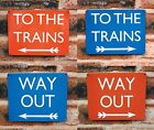 Metal Railway Sign | British Rail | To The Trains | Way Out (Weathered) Gift