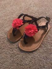Tommy Hilfiger Toddler Girls Black Pink Flower Thong Strap Sandal Size 11