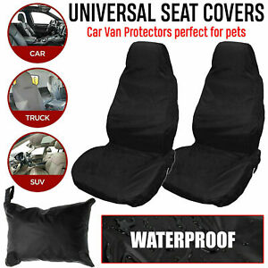 2X Universal Front Car/Van Seat Covers Protectors Black Waterproof Heavy Duty UK