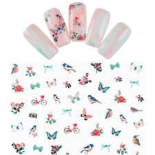 2 Sheets Butterfly Flower Nail Water Stickers Nail Art Adhesive Transfer Decals