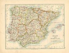 1892 mapa España & Portugal Victoriano ~ ~ Islas Baleares Mallorca Aragón Granada