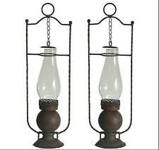 2 grande style ancienne  lampe lanterne tempete a bougie 46cm en fer lustre
