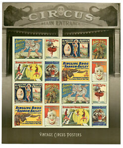 US Scott # 4905b VINTAGE CIRCUS POSTERS MINT / NH Forever IMPERF SHEET!! SCV $32