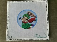 """Rebecca """"Winter Bunny"""" Hand Painted Needlepoint Canvas"""