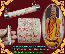 Rare!Takrut White buffalo Talisman LP Khambu Wat Old Takoot Thai Amulet Buddha