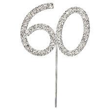 SILVER '60' DIAMANTE CAKE PICK TOPPER  60TH BIRTHDAY ANNIVERSARY RHINESTONE