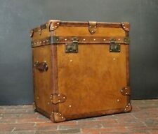 English Tan Leather Bespoke Side Table Trunk