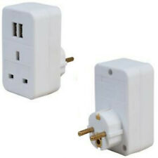 TRAVEL ADAPTOR EURO PLUG TO UK 1 GANG WITH 2 USB SOCKETS European Ports White