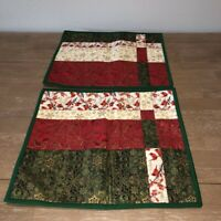 Handmade Christmas Patchwork Quilted Placemats 2 Cardinals Poinsettias Snowflake