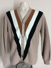 Vtg 60s Campus Alpaca Knit Cardigan Sweater S Beige Acrylic Stripes