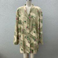 VTG Teddi Button Up Shirt Tunic Blouse Plus 3X Tan Floral Long Sleeve Casual