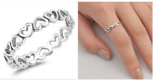 Sterling Silver 925 ETERNITY HEARTS SILVER DESIGN PROMISE RING 4MM SIZES 3-10