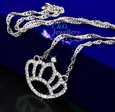 18k white gold GF big queen crwon Austrian crystal women Bid pendant necklace