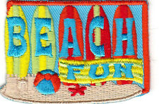 """BEACH FUN"" - IRON ON EMBROIDERED PATCH - BEACH - OCEAN - SWIMMING -SURFING"