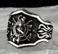 SAİLOR No Stone Turkish 925 Sterling Silver Black Mens mans ring US ALL SİZE