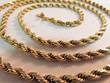 """14K Solid Gold Diamond Cut Rope Chain Necklace  24""""L. SAVE  $1600.  #797"""