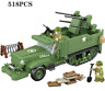 WW2 US Military Army Armoured Truck War Vehicle + USA Soldiers fit lego