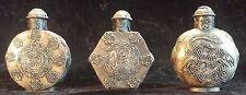 Rare Vintage Oriental Chinese Snuff Bottles Metal Perfume Antique Dragon Bird